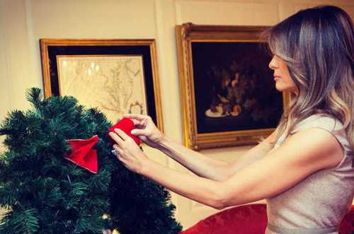 мелания трамп встретила в белом доме главную ёлку америки фото, видео